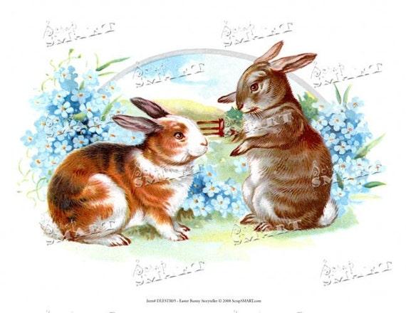 Easter Bunnies Outside - Vintage - in a full collage sheet digital download - DLESTR05