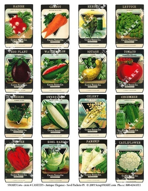 Beautiful 16 Vegetable Seed Packets  Vintage 1920u0027s Colorful Packets On A Collage  Sheet Digital Download   ASEED5