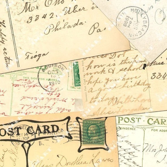 Postcards - From the Early 1900s on a Full Collage Sheet Digital Download - APSTC2