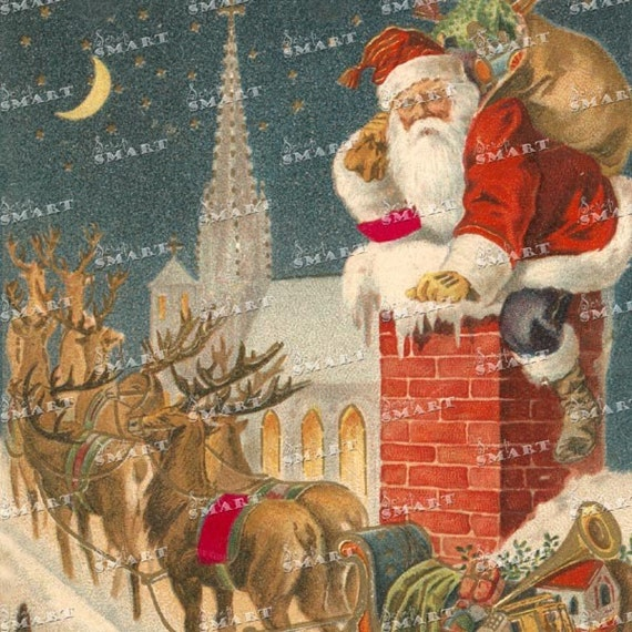 Santa Claus Drops Down The Chimney Reindeer On Roof