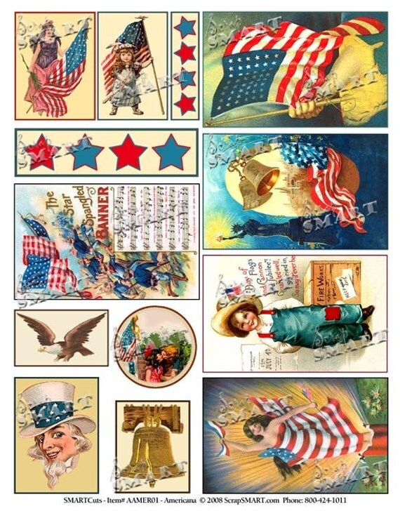 Patriotic Flags, Eagle, Children - 13 Vintage 1900's Colorful Designs on a Digital Collage Sheet Download - AAMER01