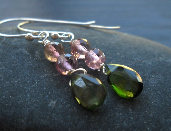 Tourmaline Gemstone Dangle Earrings in Pink and Green