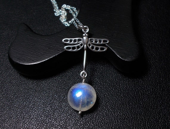 Dragonfly Moonstone Necklace, Rainbow Moonstone, Sterling Silver
