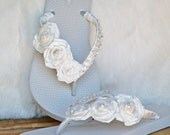 Here Comes the Bride - IVORY - Gorgeous beaded Wedding Flip Flops Size 7