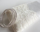 """Bridal purse, clutch, accessories, """"Modern Lacy II KeepBag"""" in ivory and cream with hand cut lace"""