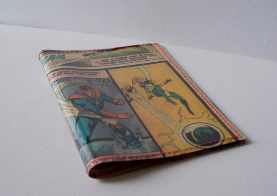 mini wallet UPCYCLED Vintage Comic book page RECYCLED into gift card/business card holder
