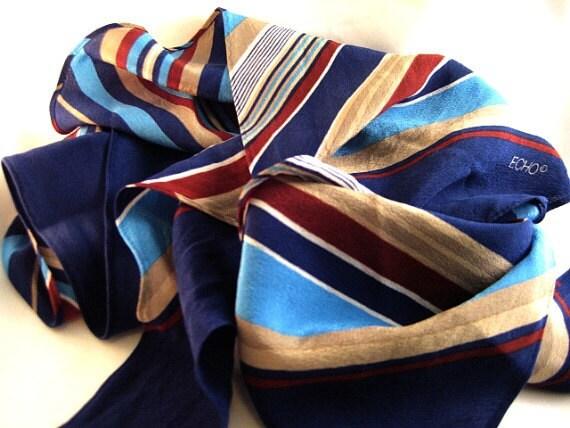 Striped Bias-Cut Silk Scarf by Echo