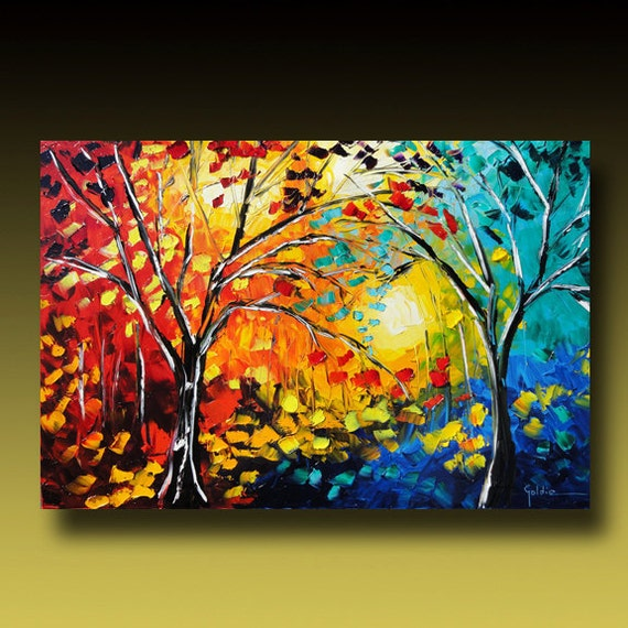 TREE Painting Original Large Abstract Textured  Modern Palette Knife Impasto Contemporary Fine Art by Goldie Huge 36 X 24