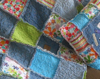 Denim Memories Rag Quilt & Pillow