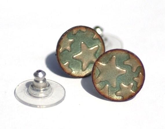 Light Blue Patterned Copper Enameled Disc Stud Earrings - 925 Sterling Silver Posts