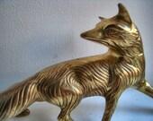 Vintage Brass Fox Figurine