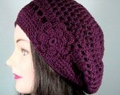 Organic Cotton Tam, Beret Hat in Wine