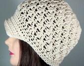 Textured Beanie Hat with Brim in Cream