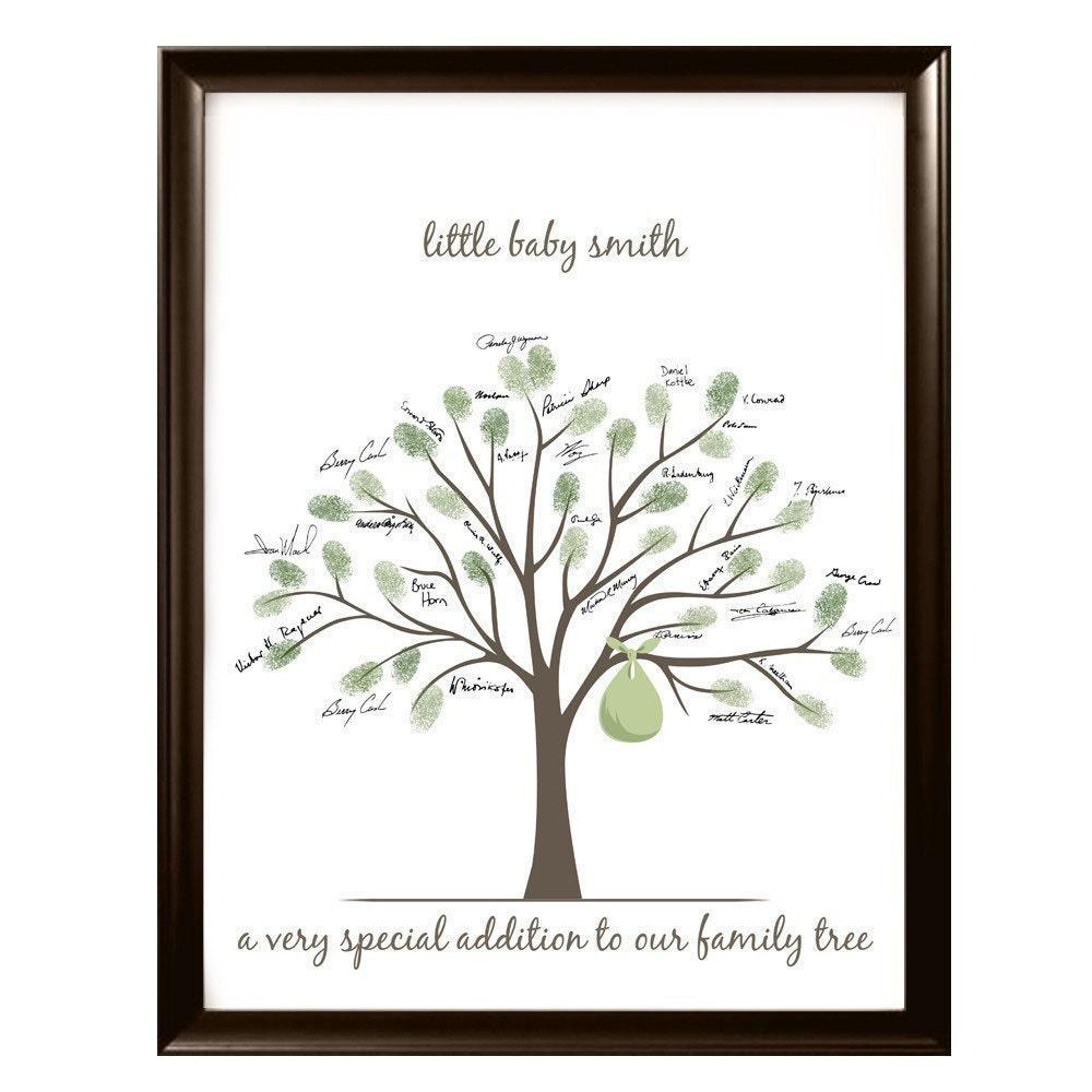 baby shower fingerprint tree 11x14