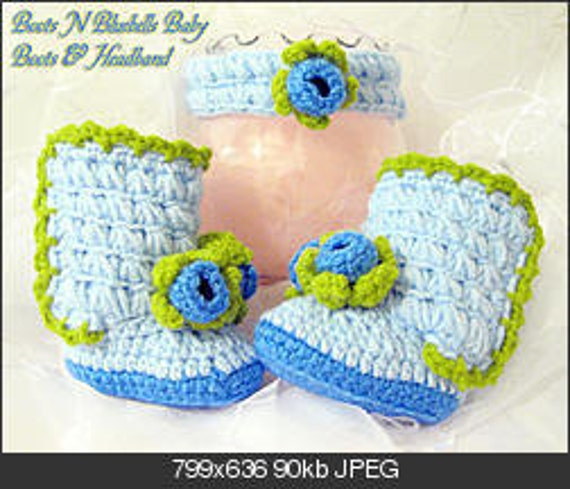 Crochet Baby Girl Boots Bluebell flower Headband crochet pattern PDF Instant Download