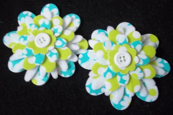 Lime and Aqua Daisy and Dots  - 3 inch Fused Fabric and Felt Flowers for Hair Clips - Set of 2 - Lot  4179