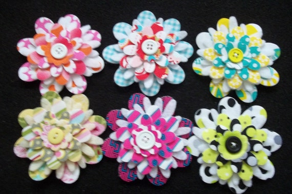 Random Mix of  3 inch Fused Fabric and Felt Flowers for Hair Clips - Set of 6 - Lot  4726