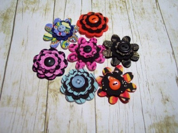 Itty Bitty Felt and Fabric Flowers - Unique Set of 7