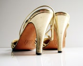 80s Geoffrey Beene gold slingback heels  7B  - Gatsby chic glittering gold w/ copper silk criss cross detail - made in Italy