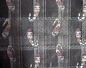 Paisley fabric yardage - multicolored jacquard woven - 25 inch width steel grey w/pink - 2 yards plus