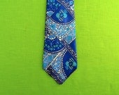 Pucci style mod 70s silk tie - teal turquoise navy print by Keehi Lagoon of Hawaii - Fathers Day - Mad Men fashion