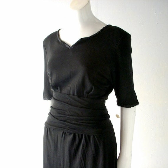 80s Little Black Dress by Eric Gaskins - size 4/6 cocktail Grecian style - shirred waist - cap sleeves - day to evening chic