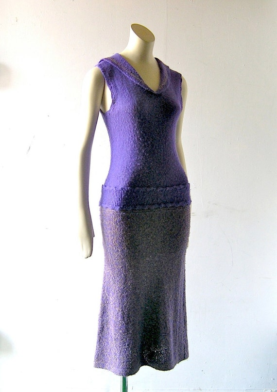 60s Mad Men purple hand knit wiggle dress w/ matching capelet cardigan jacket - 32 bust 34 hips