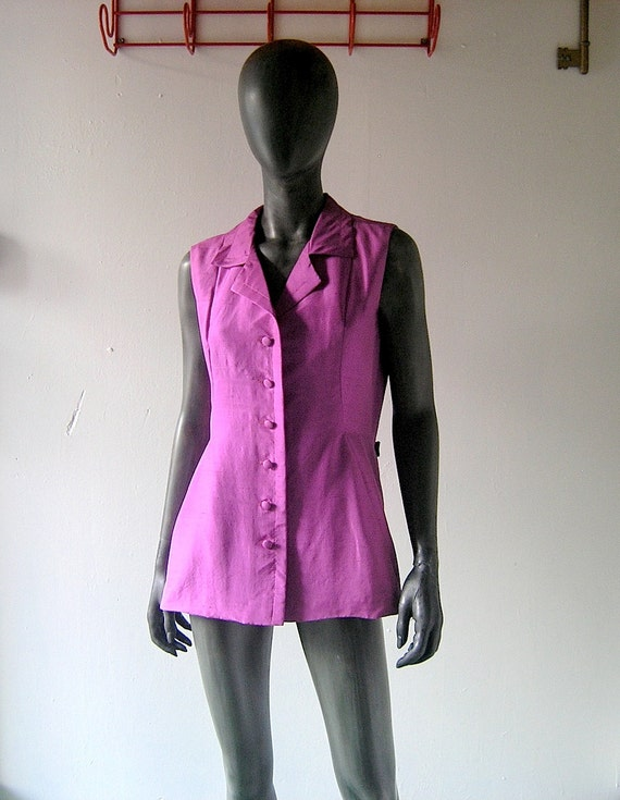 60s designer silk shantung summer shell top - Mad Men era jewel tone fuchsia blouse tunic top - Lord & Taylor 1960s made in France