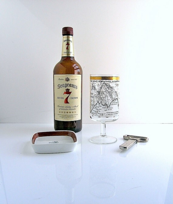 60s Mad Men bar glasses - mid century retro Wall Street Dow Jones design - Don Draper liquor cabinet - 1960s  martini chic