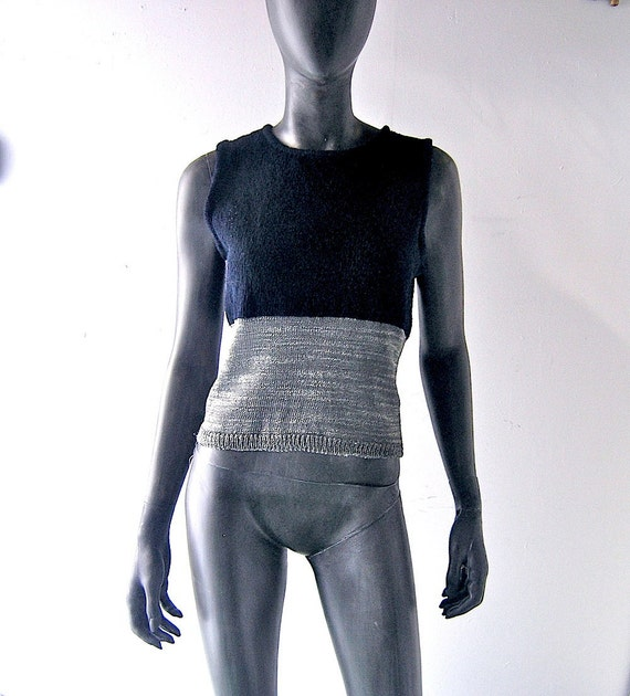 90s Anvers Belgium knit summer tank top shell - black and metallic pewter thread - size 4/6 - designer knit wear