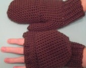 Convertible Fingerless Gloves or Mittens in Chocolate Brown, Glittens, Gloves with Flap, Flip Top Mittens