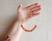 SALE // Wood Necklace // Reclaimed Oak Beads and Recycled Glass // One of a Kind