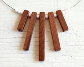 Fringe no8 // Wood Necklace // Reclaimed Redwood Beads // One of a Kind