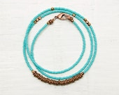 Seed Bead Necklace // Minimal and Rustic // Turquoise Green and Copper