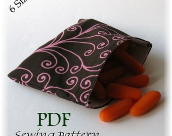 Storage, Snack and Sandwich Bags PDF Sewing Pattern - In 6 Sizes - Easy to make - Special SALE Price