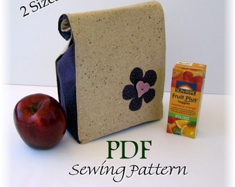 Classic LUNCH BAG Sewing Pattern PDF - Quick and Easy to Make - Free Shipping - Sale Price