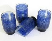 Blue Inkblot Squiggle Glasses - 1970's Vintage set of 4 Cobalt Embossed decoration