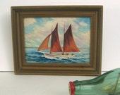 Marine Sailboat Painting - Framed Vintage Original Acrylic