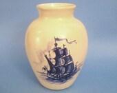 Nautical Pottery Boat Vase - Hand decorated Vintage 1970s, Sailing Ship