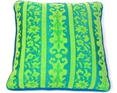 Vibrant Damask Pillow in Turquoise and Lime - Vintage