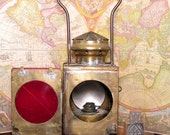Antique Brass Railroad Signal Lamp, Box with Red Glass, European