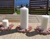 SPECIAL FOE LIZ Beach Decor Candleholders, seashells, set 3, mauve for pillars