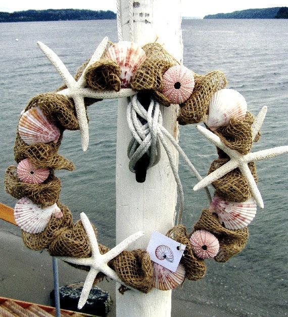 BEACH DECOR BURLAP wreath, seashell wreath, nautical wreath, pink sea urchins, striped shells, starfish