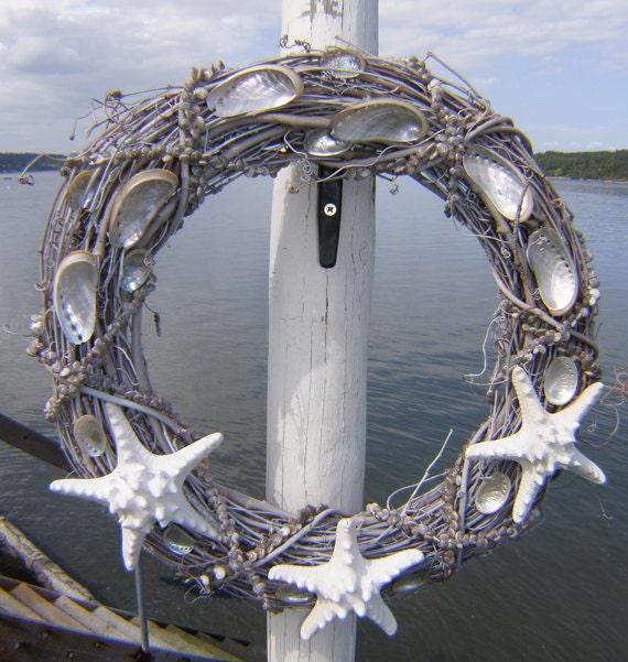 BEACH DECOR, seashell wreath, knobby starfish, driftwood gray, nautical wreath