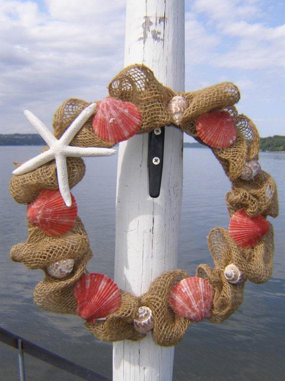 Items similar to burlap beach wreath beach decor for Beachy decor items