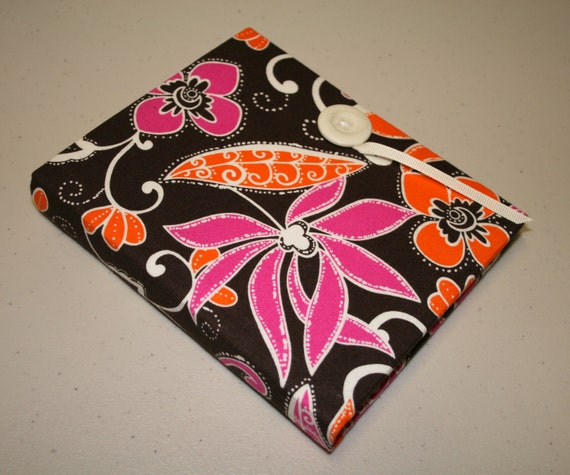 Brag Book Photo Album ... Funky Florals Pink and Orange Fabric