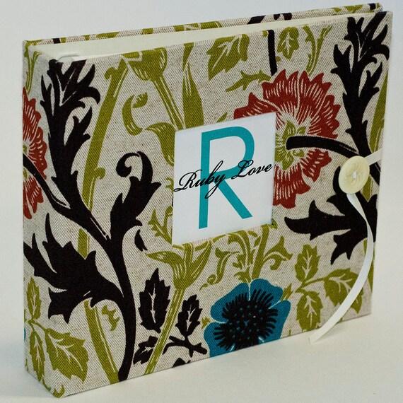 Baby Memory Book... Ruby Love Baby Book . Linen Wildflowers Album