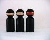 Handmade wooden ninja ... ( peg doll ) Three medium size
