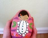 handmade wood folk art .. hand painted egg baby