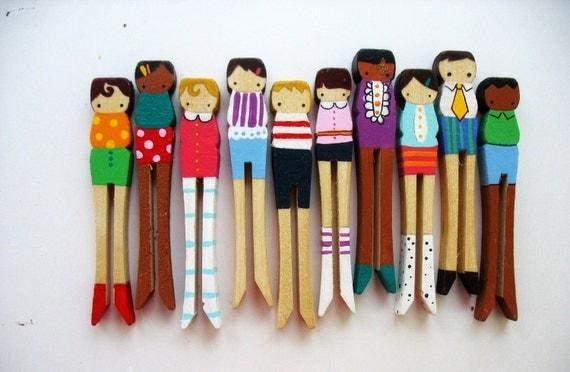 handmade wooden folk art clothespin dolls .. RESERVED FOR  looiejames
